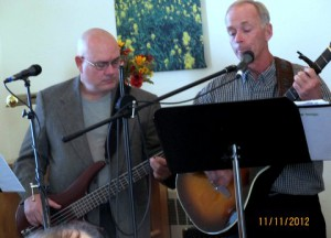 The men on the worship team at Forks Mennonite Church,