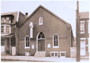 The building where Rhoda was born, baptized, married, and commissioned for service.